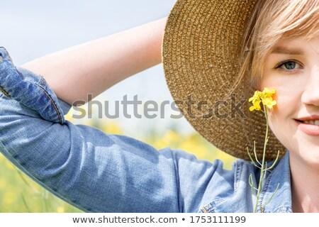 Feminino jeans campo de trigo atrás adulto caucasiano Foto stock © stevanovicigor