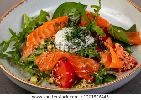 鮭 サラダ ソース 魚 プレート 唐辛子 ストックフォト © Digifoodstock
