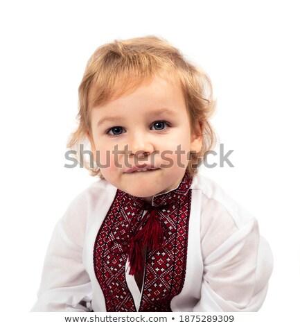 Menino branco camisas ilustração sorrir crianças Foto stock © bluering