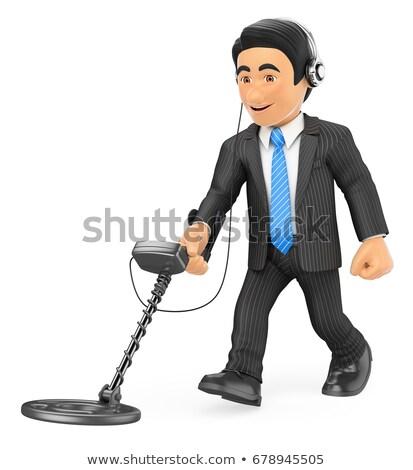 3D üzletember fém detektor üzletemberek illusztráció Stock fotó © texelart