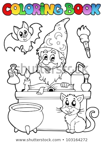 Coloring book magician theme 1 Stock photo © clairev