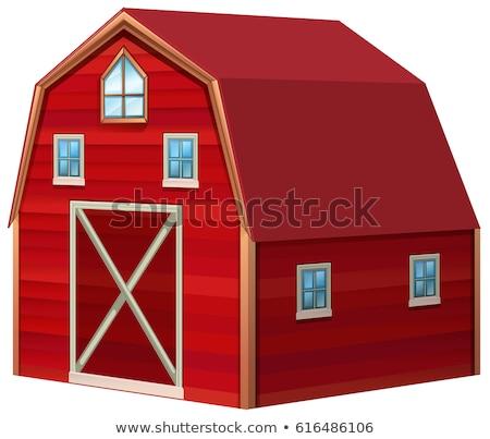 Kırmızı ahır 3D dizayn örnek ev Stok fotoğraf © bluering