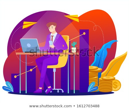 money traffic on laptop in modern workplace background stock photo © tashatuvango