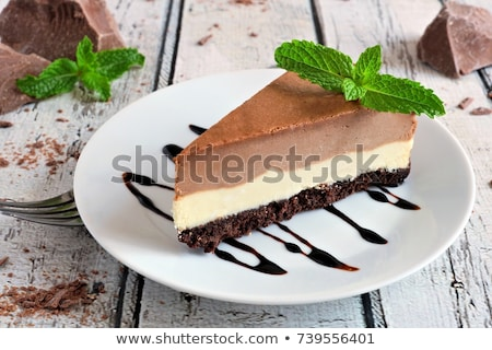 Csokoládés sütemény sajt krém tányér torta reggeli Stock fotó © Digifoodstock