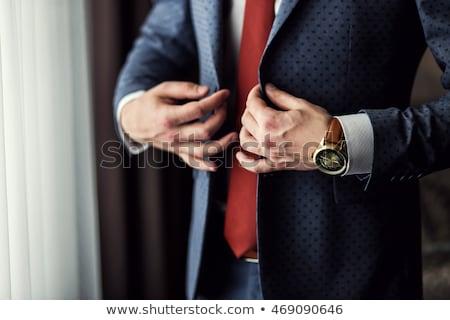 Zdjęcia stock: Młodych · elegancki · człowiek · gotowy · szczęśliwy