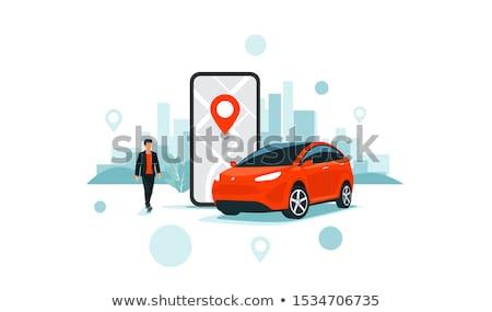 Kira araba afiş kadın satıcı Stok fotoğraf © Genestro