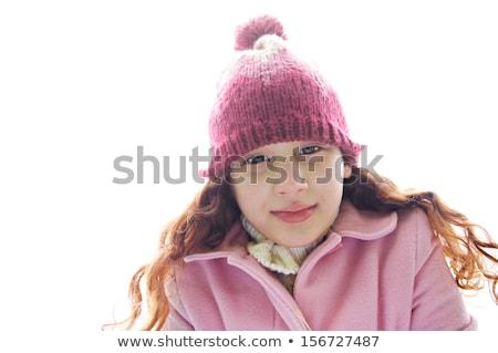 Vonzó nő kalap kabát dől előre izolált Stock fotó © julenochek