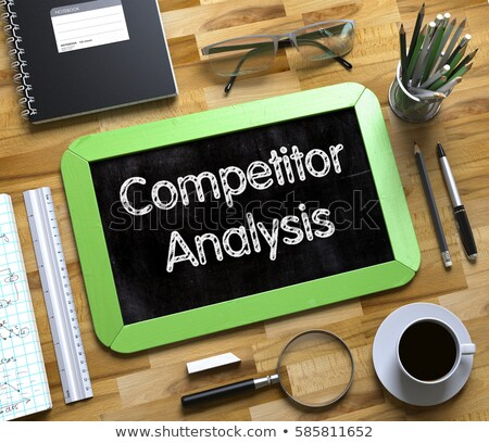 Foto stock: Business Goals Analysis - Text On Small Chalkboard 3d