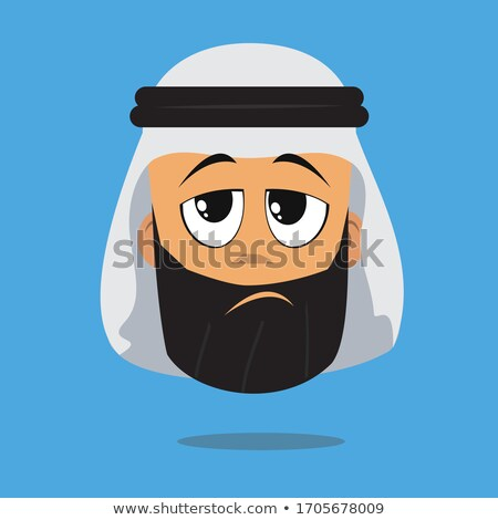 Muslim arab angry unhappy businessman character vector flat cart Stock photo © NikoDzhi