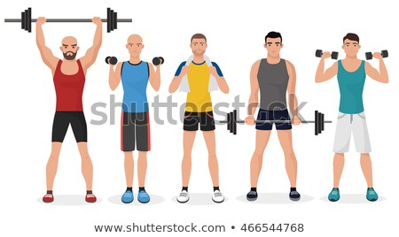 Sportsman make sport exercises in gym Stock photo © deandrobot