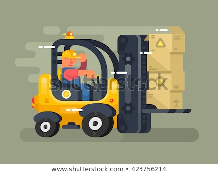 Storekeeper loader forklift flat design Stock photo © jossdiim