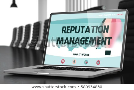 Searching Management on Laptop in Conference Hall. 3D. Stock photo © tashatuvango