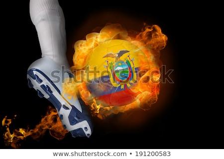 サッカー 炎 フラグ エクアドル 黒 3次元の図 ストックフォト © MikhailMishchenko