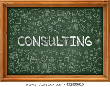 Consulting Concept. Green Chalkboard with Doodle Icons. Stock photo © tashatuvango