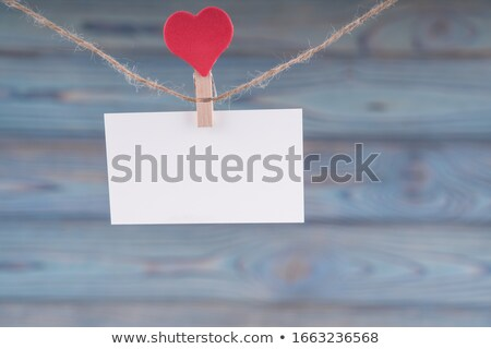 Stockfoto: Houten · oude · wasknijper · lege · kaart · geïsoleerd