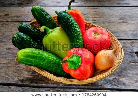 Zoete peper komkommers oude houten tafel gezonde voeding Stockfoto © Valeriy