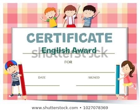 Certificato modello english premio illustrazione fiore Foto d'archivio © bluering