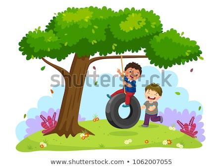 Children swinging from tree in backyard Stock photo © IS2