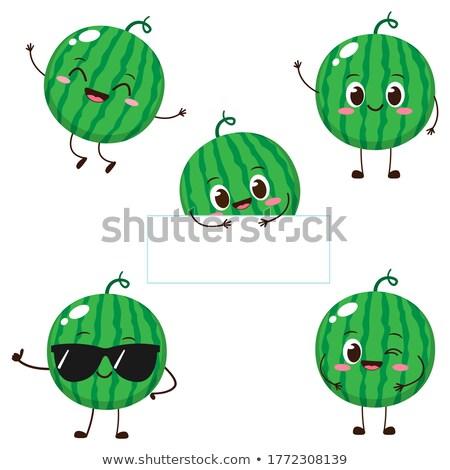 Mutlu yeşil karpuz meyve karikatür maskot karakter Stok fotoğraf © hittoon