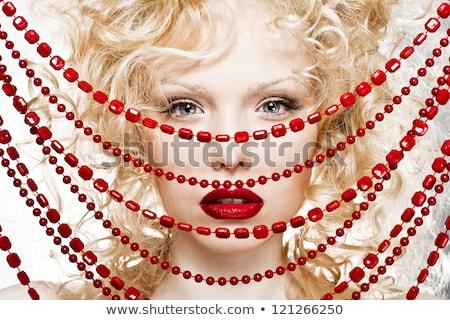 rubio · mujer · rojo · cuentas · hermosa - foto stock © lubavnel