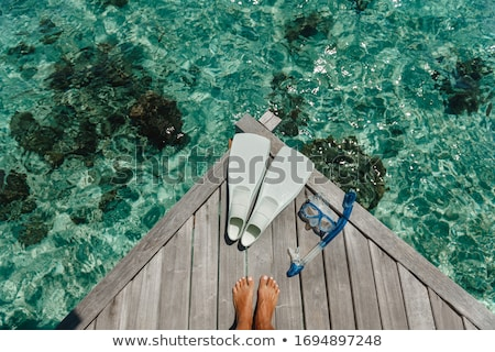 Stock photo: girl with mask and fins