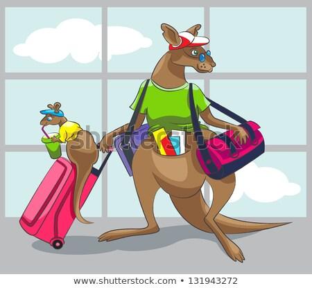 kangaroo and bag of baby australia animal vector illustration stock photo © maryvalery