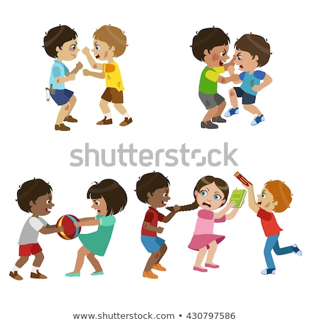 Set of young boys fighting Stock photo © bluering