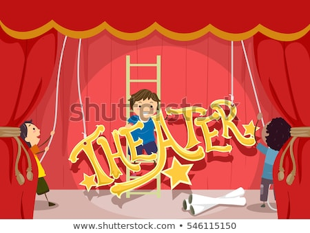 Stickman Kids Theater Setup Stage Lettering Stock photo © lenm