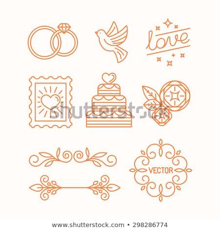 feliz · novia · novio · anillos · de · boda · arte · pop · estilo · retro - foto stock © blumer1979