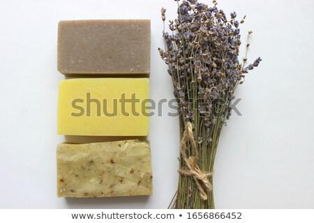 Belo secas lavanda buquê amarelo superfície Foto stock © artsvitlyna