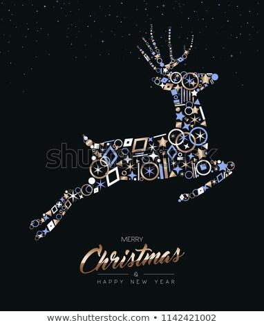 Noël cerfs cuivre icônes carte de vœux joyeux Photo stock © cienpies