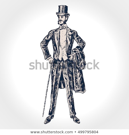 Gentleman in top hat, holds a cane in hand hand drawn vector ill Stock photo © NikoDzhi