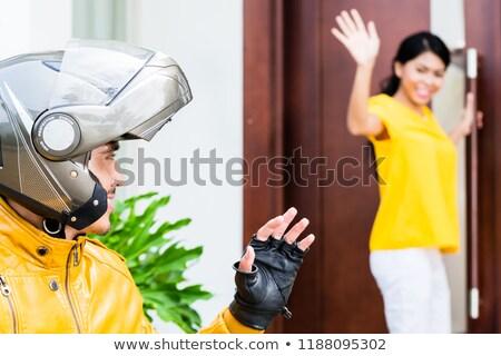 Mulher provérbio adeus capacete mão Foto stock © Kzenon
