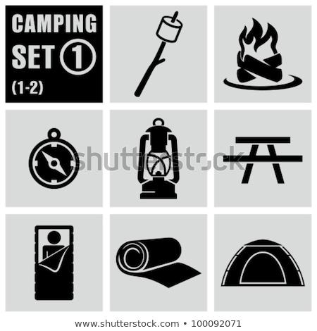 Snem czarny worek ikona sylwetka turystyka Zdjęcia stock © JeksonGraphics
