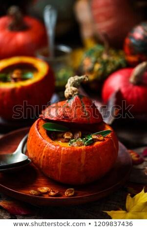 pumpkin soup with sage pesto .style rustic Stock photo © zoryanchik