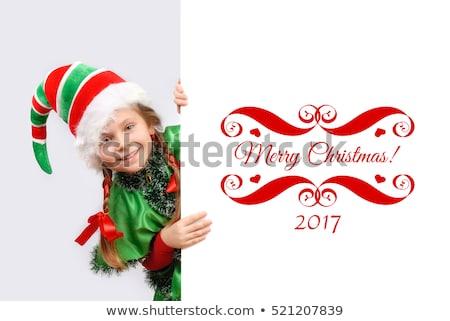 Neşeli Noel küçük cin mesaj tahta Stok fotoğraf © ori-artiste