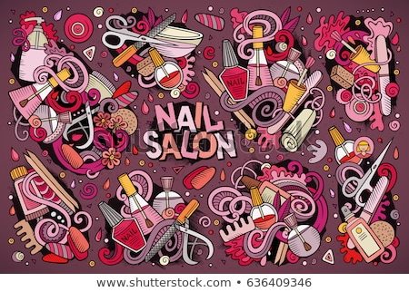 Stockfoto: Vector Cartoon Set Of Nail Salon Theme Objects