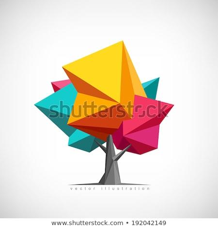 Stilizált vektor fa ikon felirat logo Stock fotó © blaskorizov