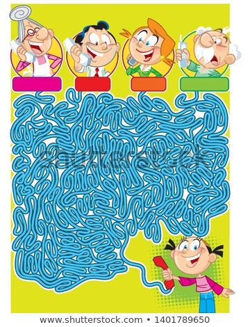 Cartoon labirinto gioco ragazza telefono illustrazione Foto d'archivio © izakowski