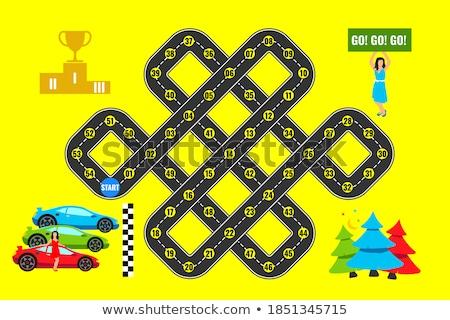 Foto stock: Modelo · crianças · corrida · carros · ilustração · criança