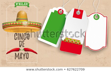 sombrero cinco de mayo chili vintage price stickers stock photo © limbi007