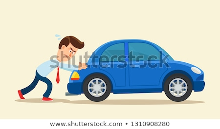 Stock photo: Businessman pushing car in business concept
