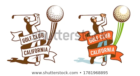 Foto stock: Certidão · modelo · jogador · de · golfe · ilustração · paisagem · fundo