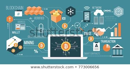 Téléphone portable bitcoin signe symbole pièces d'or design Photo stock © Krisdog
