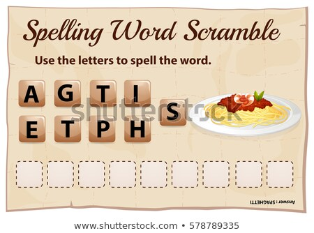 Spelling word scramble template with word spaghetti Stock photo © colematt