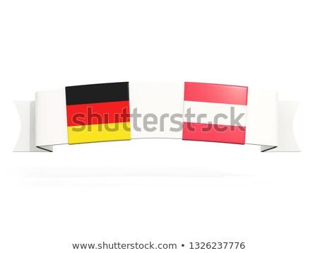 Banner dwa placu flagi Niemcy Austria Zdjęcia stock © MikhailMishchenko