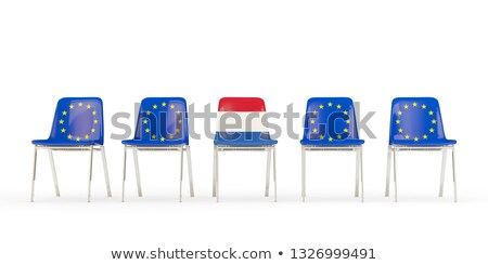 Row of chairs with flag of EU and netherlands Stock photo © MikhailMishchenko