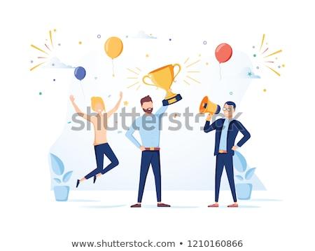 Działalności sukces biznesmen zwycięstwo kubek Zdjęcia stock © robuart