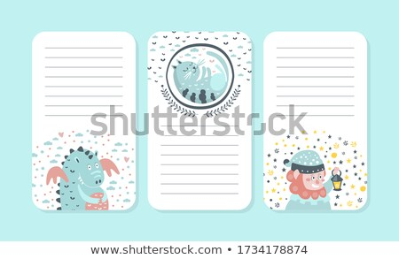 Stock photo: A dragon on paper note template