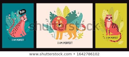 Szett tigris karakter illusztráció háttér sziluett Stock fotó © colematt